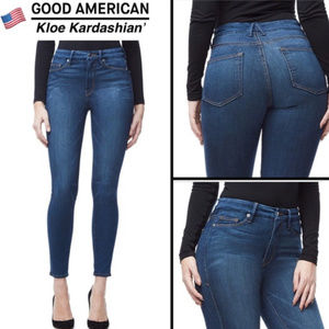 Good American Good Legs Dark Wash Skinny Jeans 10